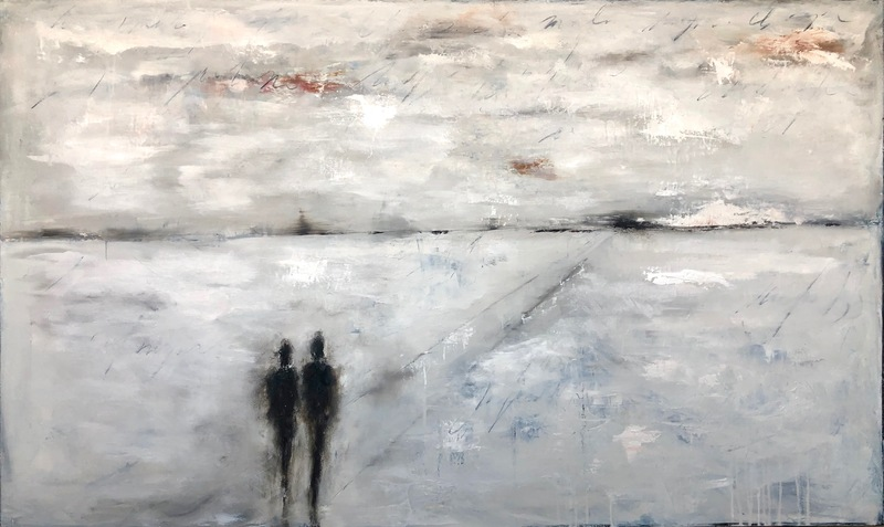 The Distance Between 48 x60 oil, mixed media