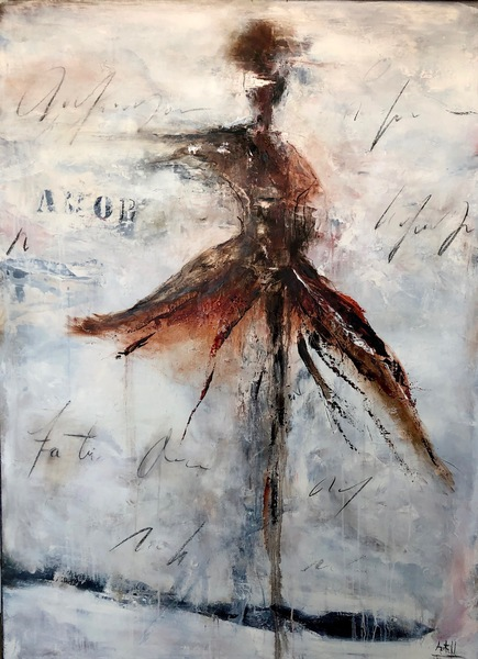 Isadora 60 x44 oil, mixed media